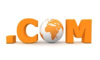 3D globe with word dot com in orange - front view